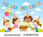 children birthday party | Shutterstock .eps vector #228084556