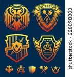 shield crest emblem set | Shutterstock .eps vector #228098803