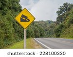warning steep road sign slope... | Shutterstock . vector #228100330