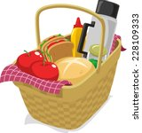 picnic basket filled with food... | Shutterstock .eps vector #228109333