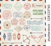 vector colored romantic postage ... | Shutterstock .eps vector #228123760