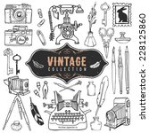 vintage retro old things... | Shutterstock .eps vector #228125860