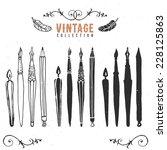 vintage retro old nib pen brush ... | Shutterstock .eps vector #228125863