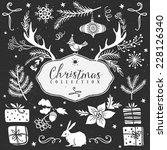 chalk set of decorative festive ... | Shutterstock .eps vector #228126340
