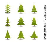 christmas trees collection.... | Shutterstock .eps vector #228129859