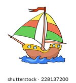 Boat Cartoon Colorful   On A...