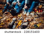 couple camping in the autumn... | Shutterstock . vector #228151603