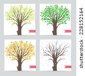 set of cards with trees ... | Shutterstock .eps vector #228152164