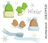 set of winter clothing. hat  ... | Shutterstock .eps vector #228159520