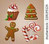 christmas icons set  | Shutterstock .eps vector #228195124
