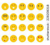 smiley faces icons set on white ... | Shutterstock .eps vector #228208318