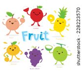 cute fruit cartoon vector | Shutterstock .eps vector #228223570