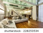 architecture  wide loft with... | Shutterstock . vector #228253534