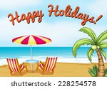 Happy Holidays Beach Scene Wit...