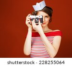 beautiful pin up girl holding a ... | Shutterstock . vector #228255064