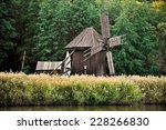 Old Wooden Windmill Nearby A...
