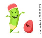funny cute pencil and eraser | Shutterstock .eps vector #228272779