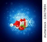christmas gift box and santa...   Shutterstock .eps vector #228275854