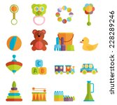 baby toys flat icon set vector | Shutterstock .eps vector #228289246