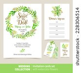 vector set of invitation cards... | Shutterstock .eps vector #228306514