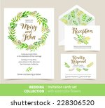 vector set of invitation cards... | Shutterstock .eps vector #228306520