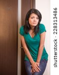 beautiful brunette girl... | Shutterstock . vector #228313486