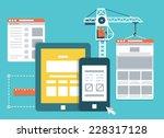 Process of creating site. Development skeleton framework of a website - vector illustration | Shutterstock vector #228317128