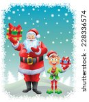 santa claus and elf holding...   Shutterstock .eps vector #228336574