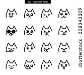 cat emotion b w | Shutterstock .eps vector #228343309