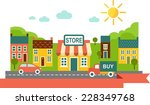 landscape with shop and... | Shutterstock .eps vector #228349768