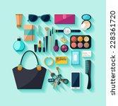 women accessories. flat design.   Shutterstock .eps vector #228361720