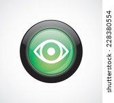eye glass sign icon green shiny ...