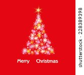 christmas tree on red... | Shutterstock .eps vector #228389398