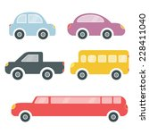 set of cartoon colorful cars | Shutterstock .eps vector #228411040