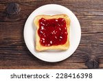 Toast With Jam In White Plate...