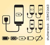 black smart phone charge icons...