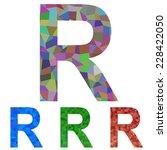 mosaic font design   letter r | Shutterstock .eps vector #228422050