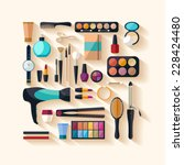 tools for makeup. flat design. | Shutterstock .eps vector #228424480
