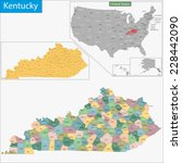 map of commonwealth of kentucky ... | Shutterstock .eps vector #228442090