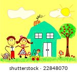 vector happy family drawing | Shutterstock .eps vector #22848070