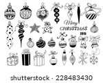 christmas baubles. hand   drawn ... | Shutterstock .eps vector #228483430
