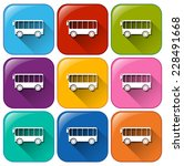 colourful buttons with bus on... | Shutterstock .eps vector #228491668