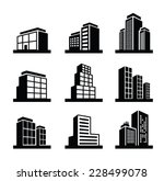 vector black illustration of Building icon on white | Shutterstock vector #228499078