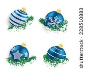 christmas blue baubles with... | Shutterstock .eps vector #228510883