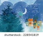 Winter Time. Watercolor Vector...