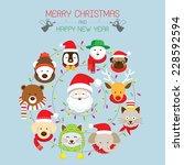 christmas   santa   animals | Shutterstock .eps vector #228592594