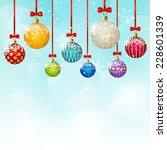 christmas balls on blue sky... | Shutterstock .eps vector #228601339
