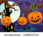 cartoon halloween scene  ... | Shutterstock . vector #228602314