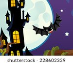 cartoon halloween scene  ... | Shutterstock . vector #228602329