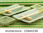Utensils for a sushi, the Japanese meal - stock photo